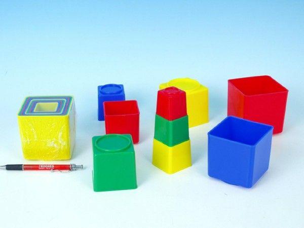 Kubus pyramida hranatá plast asst 4 barvy 9ks v sáčku Směr