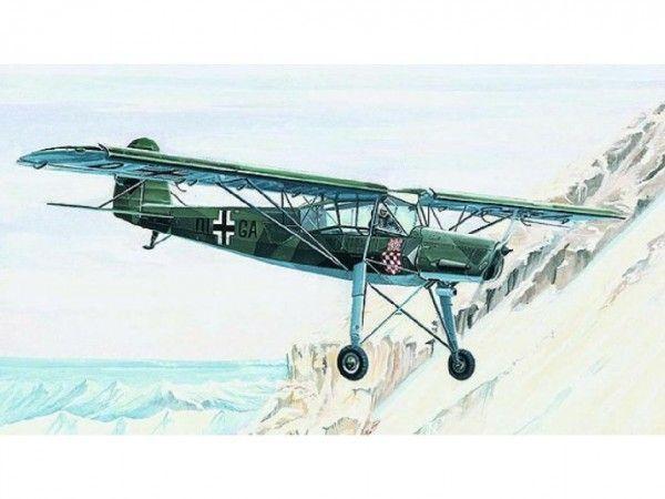 Model Fieseler FI-156 Storch 13,8x19,6cm v krabici 25x14,5x4,5cm Směr