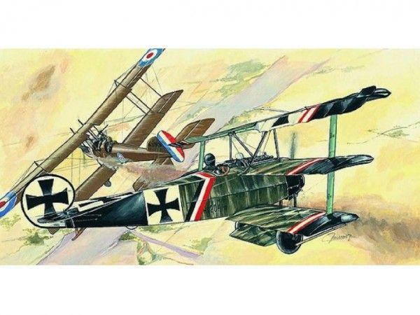 Model Fokker Dr.1 13x16,1cm v krabici 31x13,5x3,5cm Směr