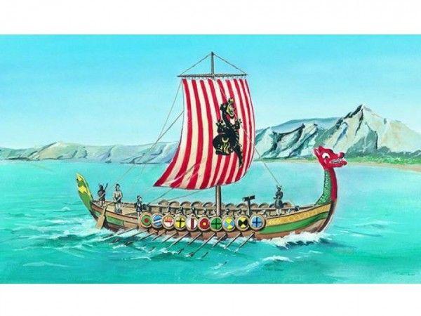 Model Viking Vikingská loď DRAKKAR 20,8x30,3cm v krabici 34x19x5,5cm Směr