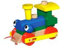 Mrkací mašinka/vlak dřevo tahací v krabičce 14,5x11x9cm Detoa