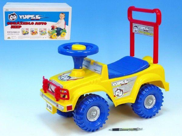 Odrážedlo auto Jeep Yupee žluté 53,5x48,3x26cm v krabici od 12 do 35 měsíců Teddies