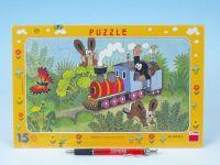 Puzzle deskové Krtek a lokomotiva 29,5x19cm 15 dílků