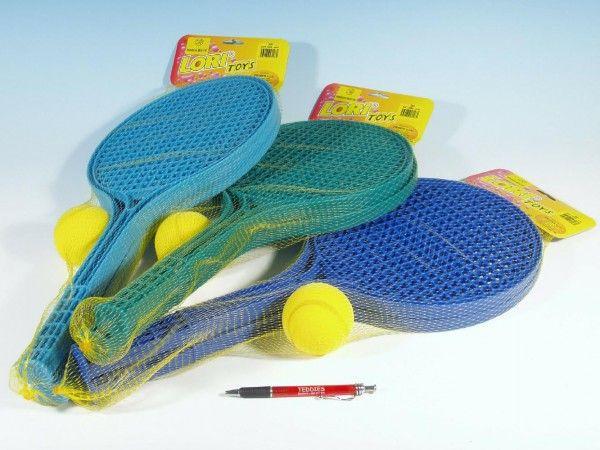 Softtenis plast barevný+míček 53cm v síťce LORI