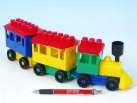 Stavebnice LORI 7 vlak + 2 vagónky plast v sáčku