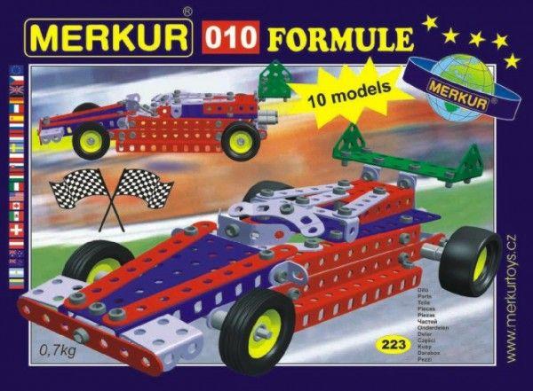 Stavebnice MERKUR 010 Formule 10 modelů 223ks v krabici 26x18x5cm Merkur Toys