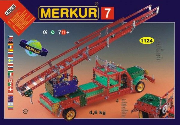 Stavebnice MERKUR 7 100 modelů 1124ks 4 vrstvy v krabici 54x36x6cm Merkur Toys