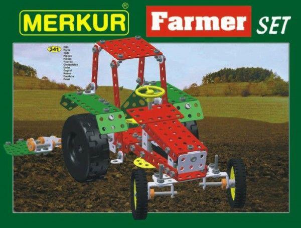 Stavebnice MERKUR Farmer Set 20 modelů 341ks v krabici 36x27x5,5cm Merkur Toys