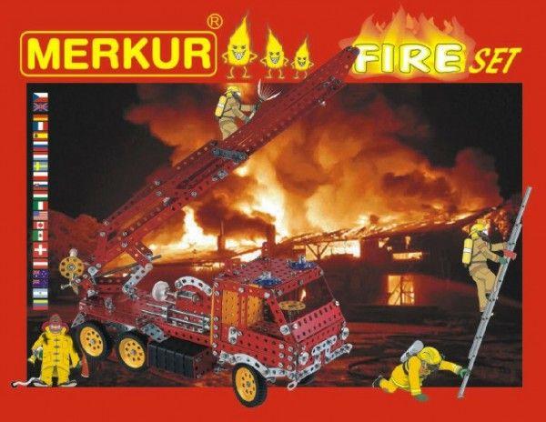 Stavebnice MERKUR FIRE Set 20 modelů 708ks 2 vrstvy v krabici 36x27x5,5cm Merkur Toys