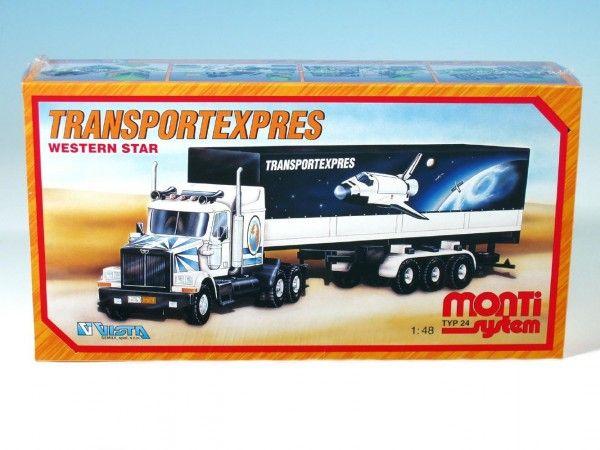 Stavebnice Monti 24 Transportexpres Western star 1:48 v krabici 32x20x7,5cm Vista