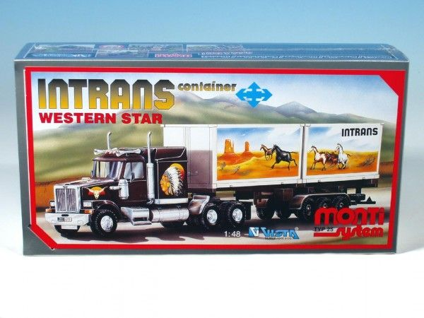 Stavebnice Monti 25 Intrans Container Western star 1:48 v krabici 31,5x16,5x7,5cm Vista