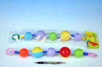 Řetěz na kočárek barevné koule plast 40cm asst v sáčku