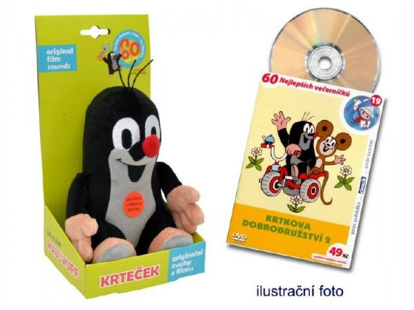 Krtek mluvící plyš 20cm na baterie se zvukem + DVD v krabici Moravská Ústředna