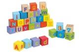 Dřevěné kostky s písmeny a čísly 30 ks