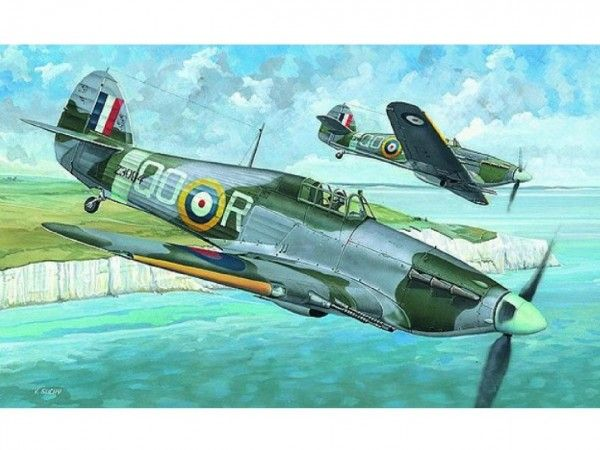 Model Hawker Hurricane MK.IIC 13,6x16,9cm v krabici 25x14,5x4,5cm Směr