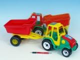 Traktor s vlekem plast 52cm asst 2 barvy v síťce