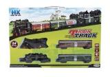 Vlak + 3 vagóny s kolejemi 24ks plast na baterie se světlem se zvukem v krabici 59x39x6cm Teddies