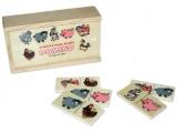 Domino zvířátka pana Müllera společenská hra dřevo 28ks v dřevěné krabičce 16x9x4cm