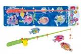 Hra ryby/rybář magnetické plast 4ks+prut plast 44cm asst 2 barvy na kartě Teddies
