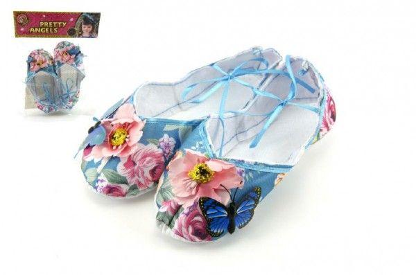 Balerínky/boty pro dívky látkové 9cm v sáčku Teddies