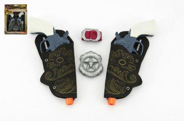 Pistole kovbojská plast 16cm 2ks s doplňky v krabici Teddies