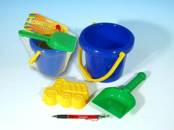 Sada na písek - kbelík, lopatka, bábovka plast v sáčku 12m+ LORI