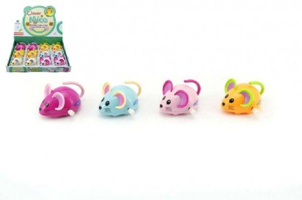 Myš na klíček plast 8cm asst 4 barvy 12ks v boxu Teddies