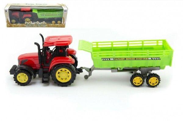Traktor s vlekem plast 35cm na setrvačník v krabici Teddies
