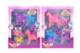 Kůň plast 5ks s doplňky v krabici 28x37cm