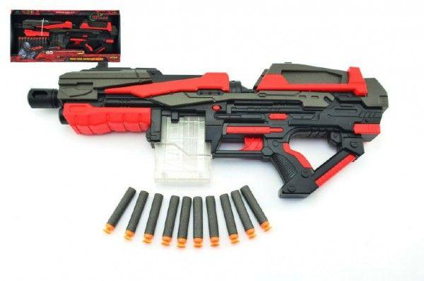 Pistole na pěnové náboje 10ks plast 54cm na baterie dětské zbrané Teddies