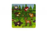 Vkládačka dřevěná Moje první lesní zvířátka 6 ks 22,5x22,5x2,5 cm od 12 měsíců MPZ Teddies