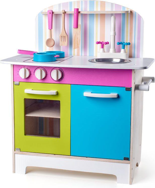 Woody 91875 Kuchyňka Julia proužkovaná dřevěná kuchyňka