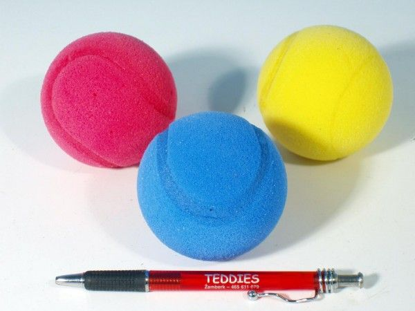 Soft míč na soft tenis pěnový průměr 7cm asst 3 barvy LORI