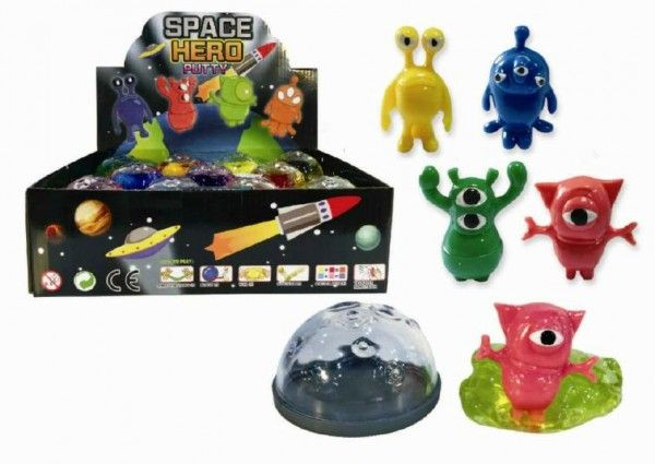 Sliz - hmota vesmír 3,5x6cm asst 4 druhy 24ks v boxu Teddies