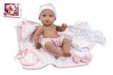 Panenka/miminko 33cm růžové tvrdé tělo s doplňky v krabici