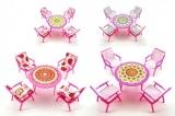 Nábytek pro panenky stůl + 4 židle plast 17cm v sáčku