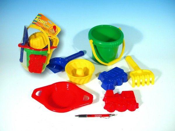 Kbelík sítko lopatka hrabičky 3 bábovky plast v síťce 20x28x12cm 12m+ LORI