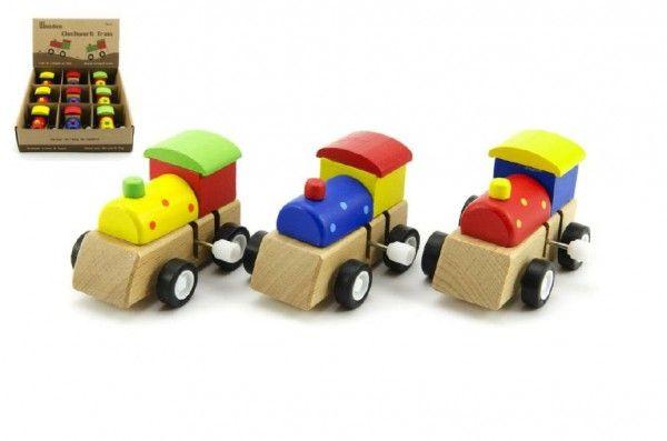 Mašinka na klíček dřevo 7cm asst 3 barvy 9ks v boxu Teddies