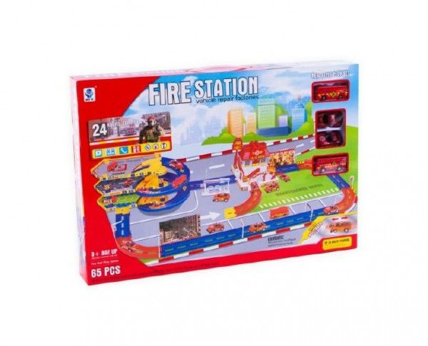 Garáž/Hasičská stanice s dráhou 65ks plast v krabici 59x40x7,5cm Teddies
