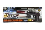 Pistole plast/kov 33cm na vodní kuličky + náboje 9-11mm na baterie se světlem v krabici 34x13x4cm Teddies