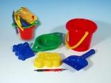 Kbelík sítko lopatka 2 bábovky plast v síťce 12m+