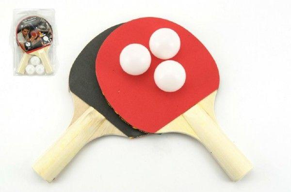 Sada stolní tenis 2 pálky + 3 míčky na kartě 18x29cm Teddies