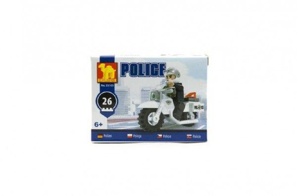 Stavebnica Dromader Policie Motorka 26ks v krabičce 10x7x4,5cm