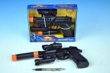 Pistole plast 32cm na baterie 2xAA zvuk+světlo v krabici
