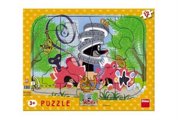 Puzzle deskové tvary Krtek opravář 36x28cm 12 dílků Dino