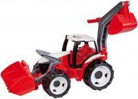 Traktor se lžící a bagrem, červeno bílý