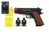 Pistole s náboji + terče plast 15cm na kartě