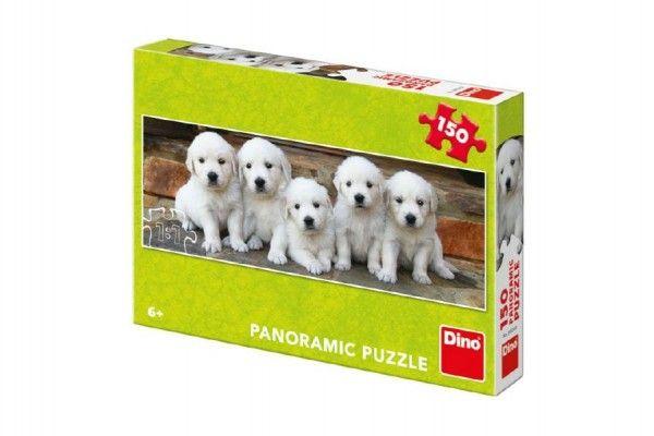 Puzzle pět štěňátek panoramic 66x23cm 150 dílků v krabici 27x19x4cm Dino
