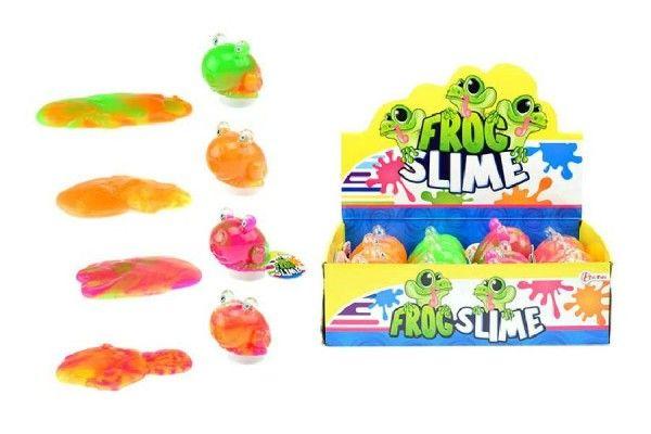 Sliz - hmota žába 8cm asst 4 barvy v plastové dóze 12ks v boxu Teddies