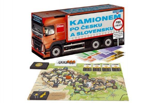 Kamionem po Česku a Slovensku společenská hra v krabici 36x17x11cm Dino